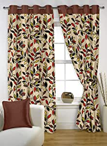 Story At Home Mixed Brown 152 cm x 120 cm Story At Home Floral Pattern Curtains