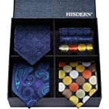 Hisdern lotto 3 PCS Classico Uomo Cravatta di seta Set Cravatta & Pocket Square - Set multipli