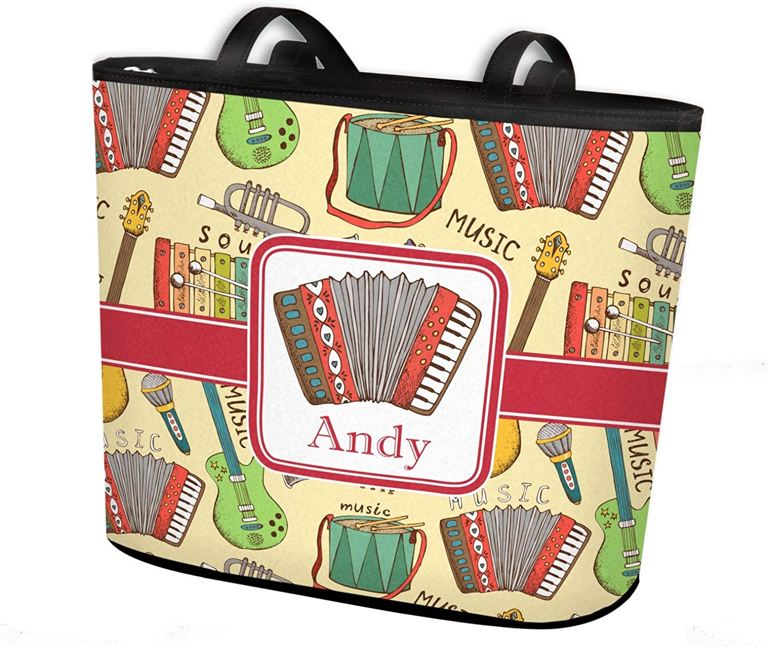 Vintage Musical Instruments Bucket Tote w//Genuine Leather Trim Large w//Front Design Personalized