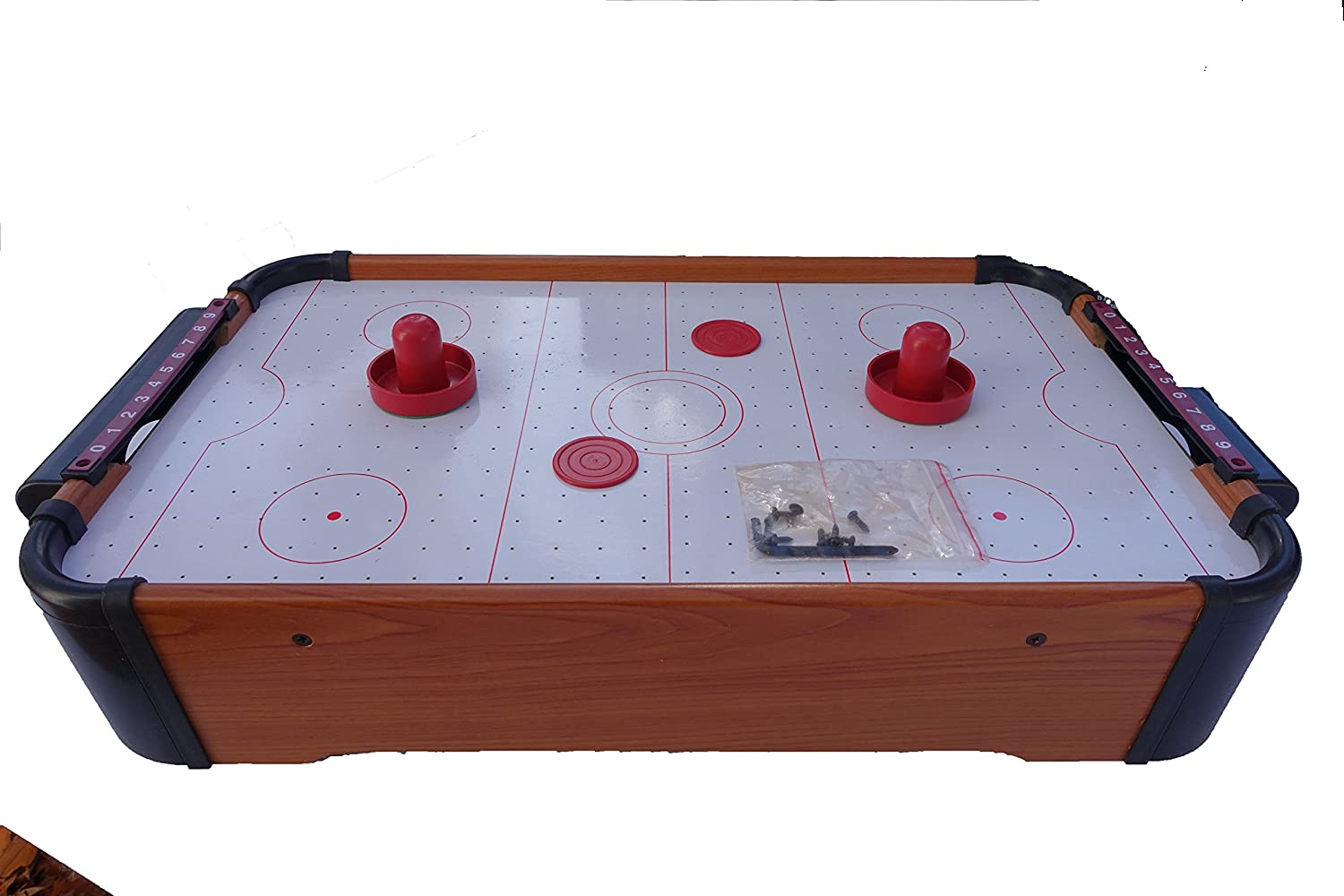 Rhode Island Novelty Air Hockey Table Top Game for Kids with 2 Puchers and 2 Pucks 20 Inches Long