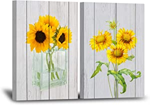 Yellow Flower Wall Decor for Living Room 12×16 Inches 2 Panels Framed Sunflowers Canvas Wall Art Golden Floral Prints Artwork Botanical Grey Wood Bedroom Wall Decoration Painting Decorative Beige Wall Picture