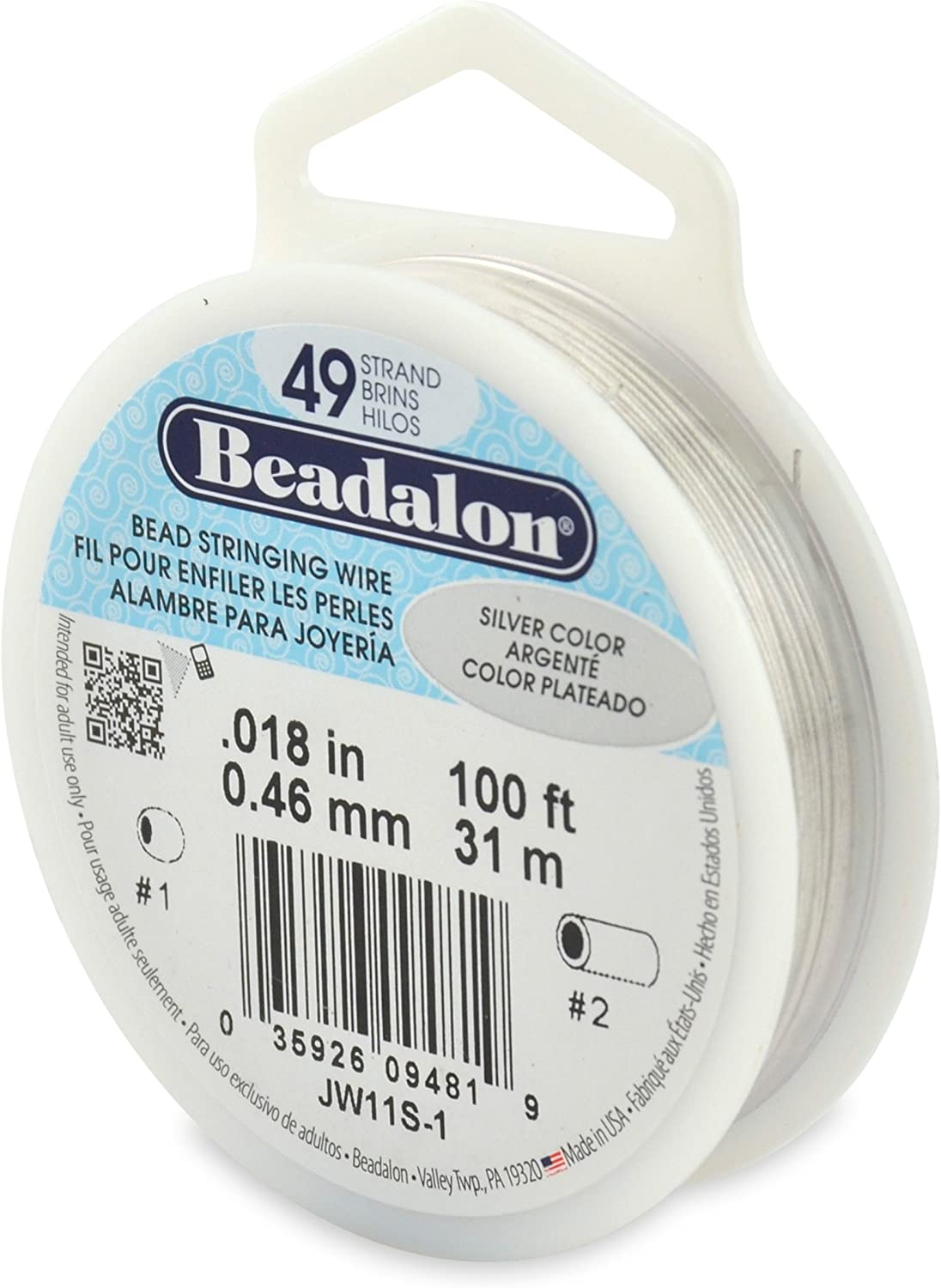 """Beadalon 49-Strand 0.018"""" (0.46 mm) 100 ft (30.5 m) Silver Color Bead Stringing Wire"""