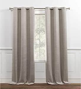 Chaps Brooks Room Darkening Sateen Sheen Textured Grommet Top Curtain Panels, 38x84, Latte