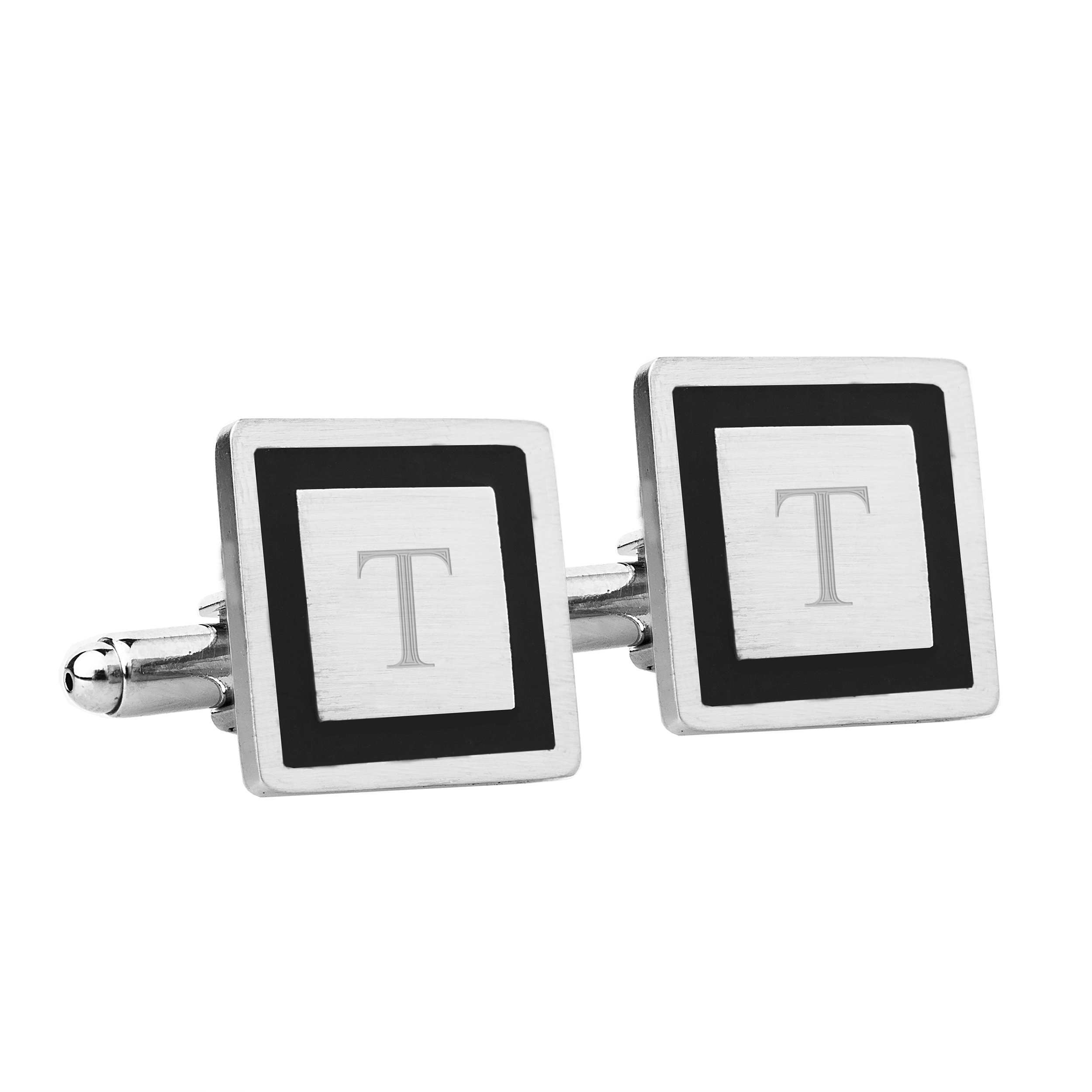 Cathy's Concepts Personalized Black Border Designer Cuff Links, Monogrammed Letter T