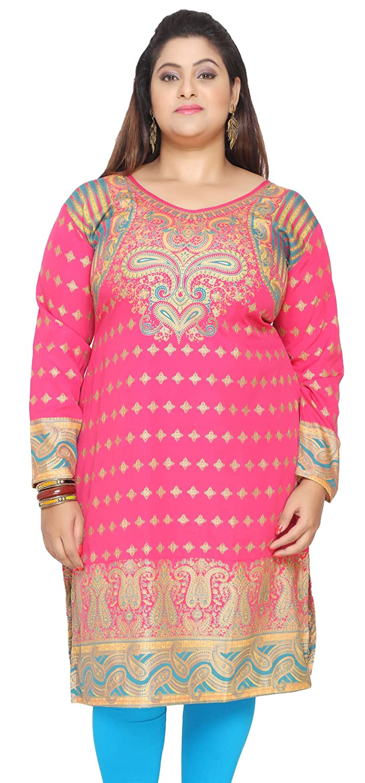 Maple Clothing Indian Tunics Kurti Long Top Womens Plus Size Apparel Eplus105p