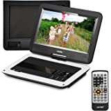 UEME Portable DVD CD Player with 10.1 Inches Screen, Car Headrest Holder & Remote Control & Wall Charger Car Charger & Built in Rechargeable Battery, Personal DVD Players PD-1010 (White)