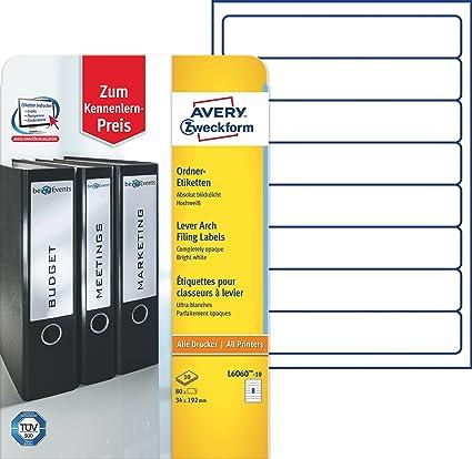 Avery Zweckform L6060 10 Ordnerrücken Etiketten A4 80 Rückenschilder Schmalkurz Selbstklebend Blickdicht 34 X 192 Mm 10 Blatt Weiß