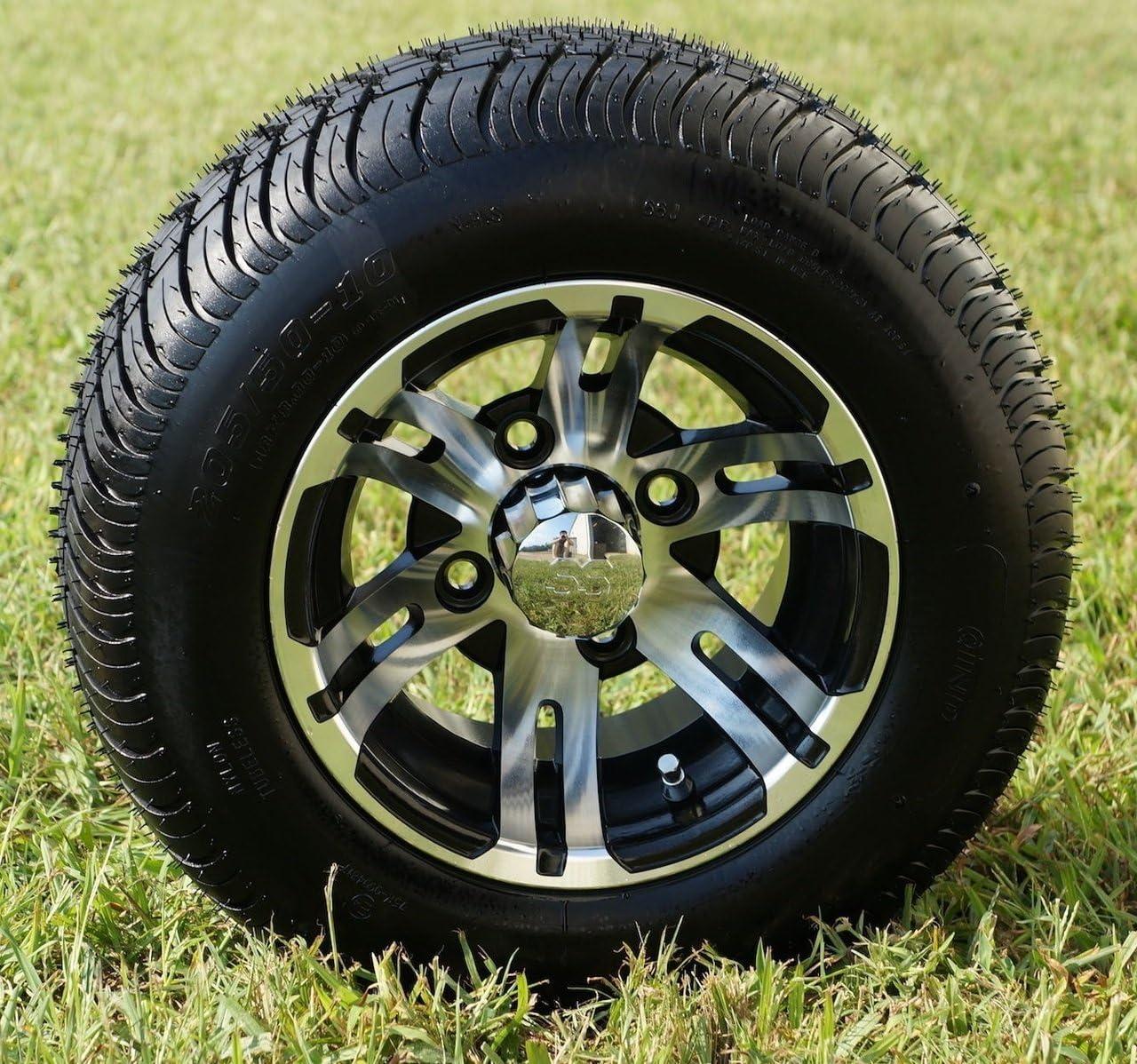 "10"" BULLDOG Machined Golf Cart Wheels and 205/50-10 DOT Golf Cart Tires Combo - Set of 4"