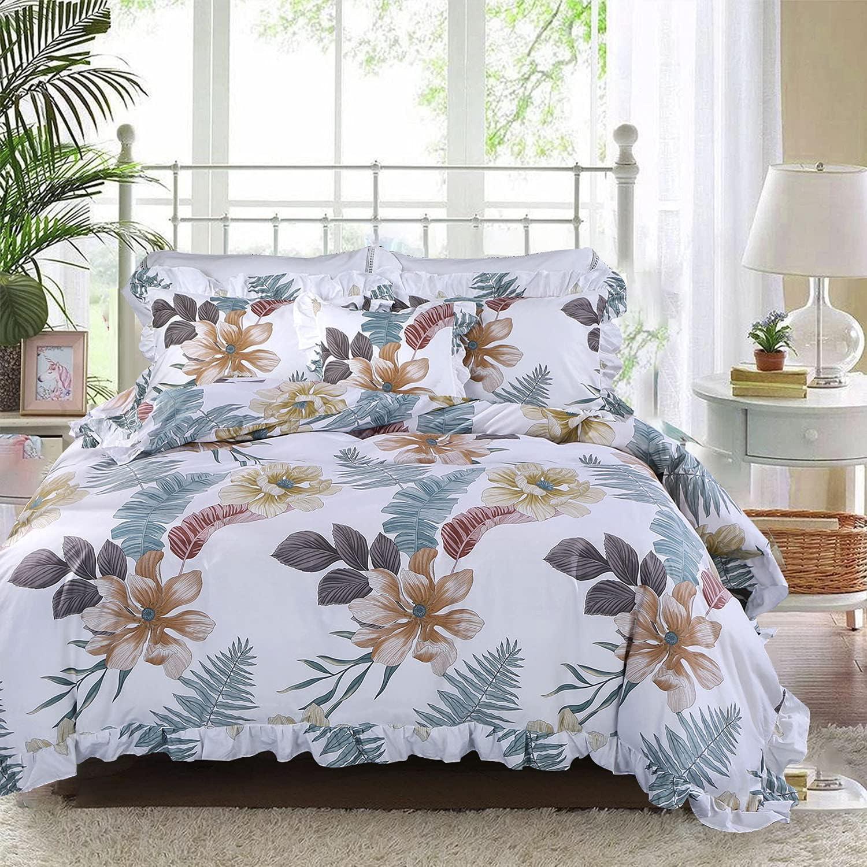 FADFAY Floral Bedding 3 Pcs Twin Size 100% Cotton 600 TC Girls Orange Hibiscus Palm Leaves Botanical Ruffle Duvet Cover Super Soft Kids Bed Set Hypoallergenic Zipper Comforter Cover - No Comforter