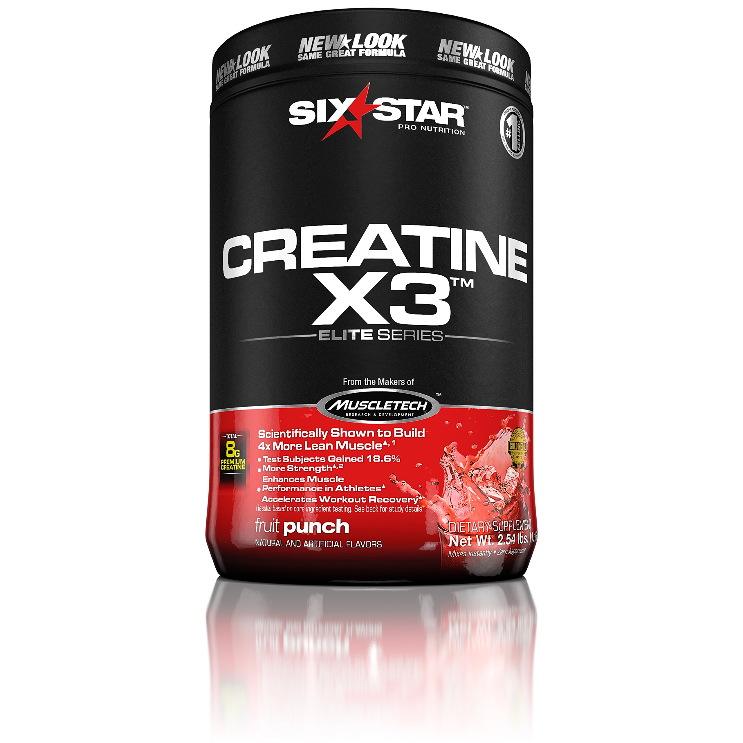Six Star Pro Nutrition Creatine X3 Powder, Max-Dosed Creatine Powder, Micronized Creatine, Creatine HCl, Fruit Punch, 2.52 Pounds