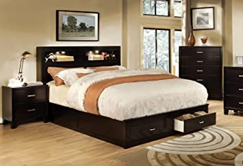 furniture of america broadway platform bed with storage drawer and light california king espresso - Cal King Bed Frame With Storage