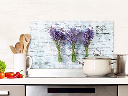 Grazdesign Spatbescherming Keuken Glas Lavendel Grijs Hout Keuken Achterwand Glasplaat 80x50cm Amazon Nl
