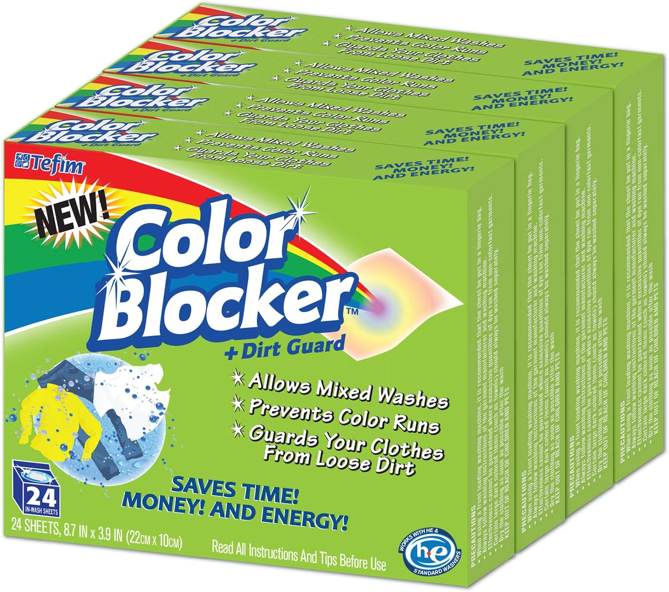 Color Blocker Dye-Trapping, in-wash Cloths - 24 Each (4 Pack)