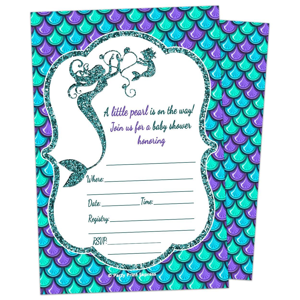 Amazon.com : Mermaid Girl Baby Shower Invitation - Fill In Style (10 ...