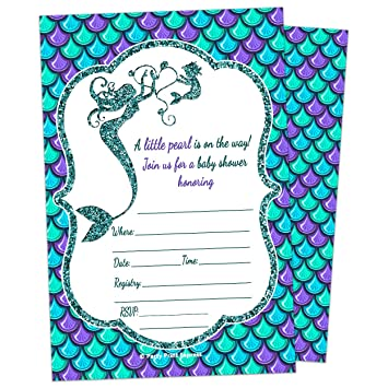 Amazing Mermaid Girl Baby Shower Invitation   Fill In Style (10 Count + Envelopes)