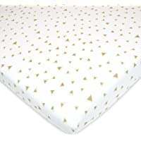 American Baby Company Printed 100% Natural Cotton Jersey Knit Fitted Portable/Mini-Crib Sheet, Taupe Triangles, Soft Breathable, for Boys and Girls