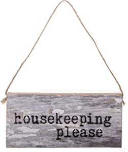 Second Nature By Hand 6x3 inch Reclaimed Wood Art, Decorative Handcrafted Sign — Housekeeping Please