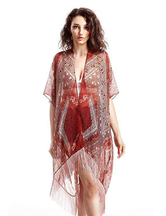 Avoir Aime Long Abstract Patterned Lightweight Kimono Wrap with Fringe Ball Trim - Blue