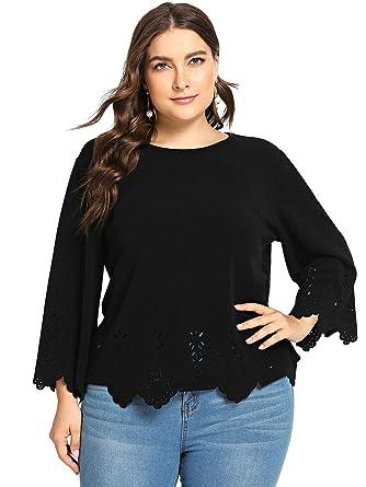 d4e925af81 Romwe Women's Plus Size Hollow Out Scallop Hem 3/4 Sleeve Blouse Top Black  0XL