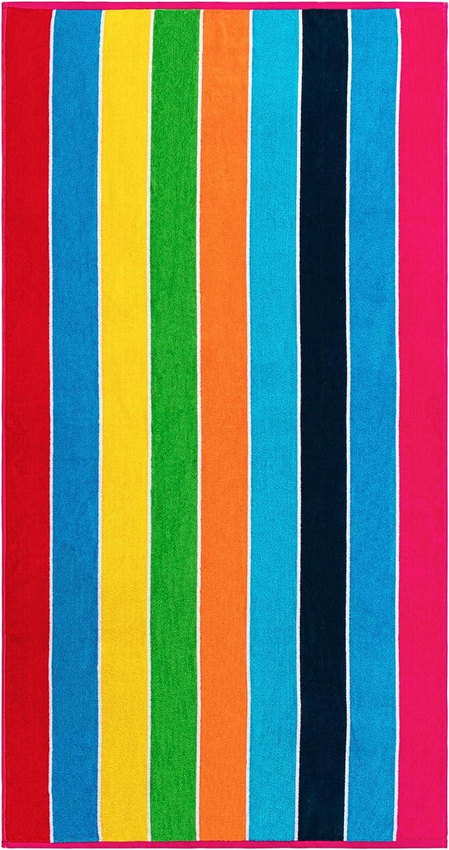 SUPERIOR Rainbow Stripe Oversized Beach Towel, 1 PC, Pink
