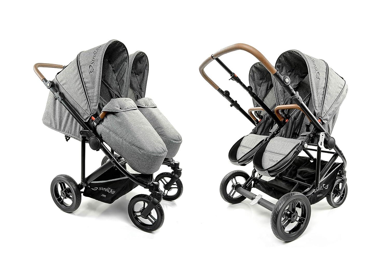 StrollAir Twin Way. The Best Twin Stroller. Double Stroller Side by Side. Reversible seat Double Stroller.
