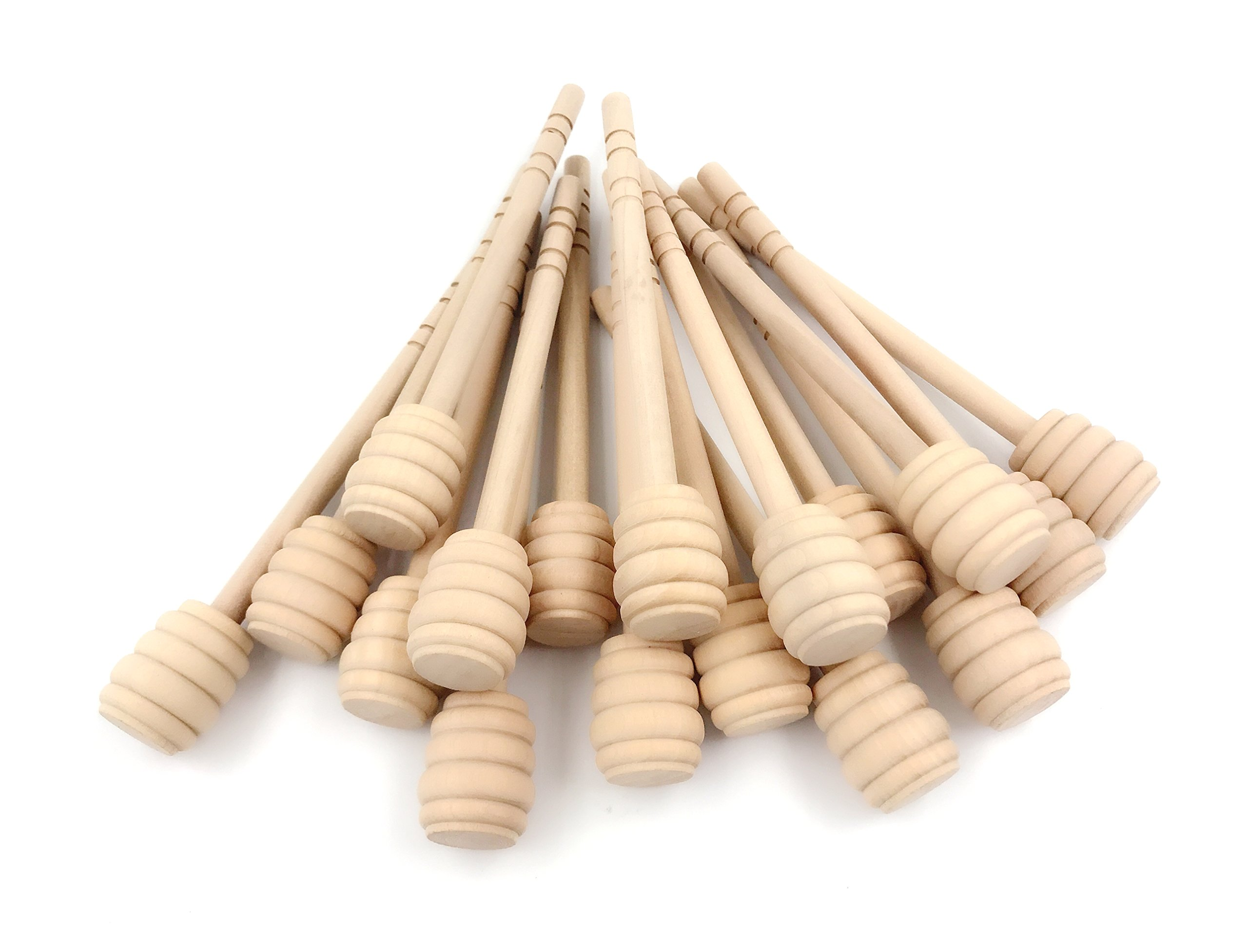 Set of 50 6 Inch Portable Wooden Jam Honey Dipper Honey Sticks for Honey Jar Dispense Drizzle Honey