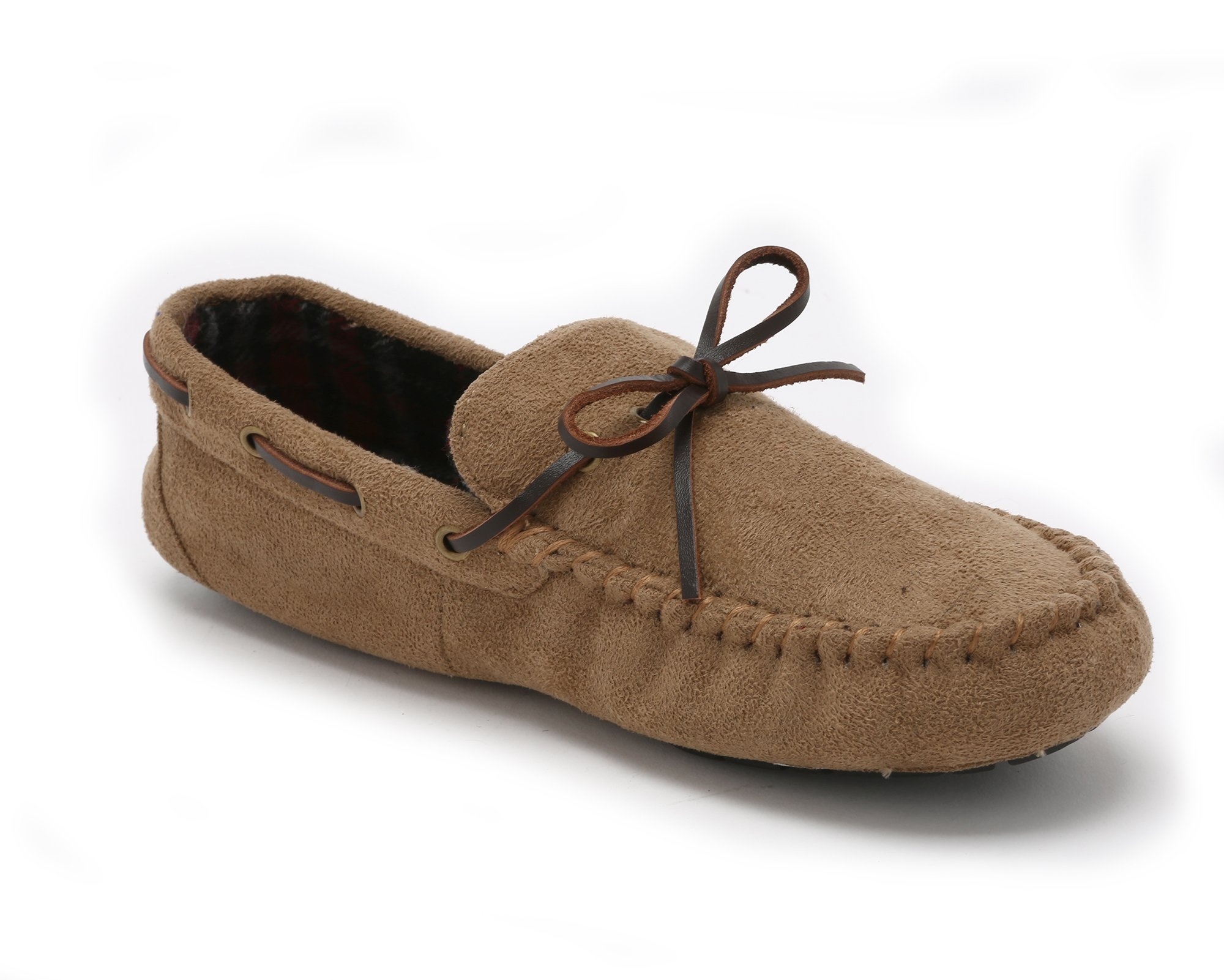 Pembrook Men's Moccasin Slippers – Size M - Micro suede Indoor and Outdoor Non-Skid Sole - Great Plush Slip On House or Driving Shoes for adults, Men, Boys
