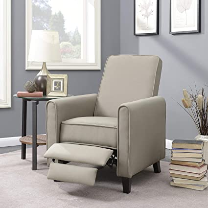 Belleze Modern Recliner Club Chair Accent Living Room Linen w/Footrest,  Taupe