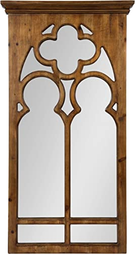 Kate and Laurel Mirabela Farmhouse Casual Wood Framed Decorative Arch Wall Mirror, Light Brown