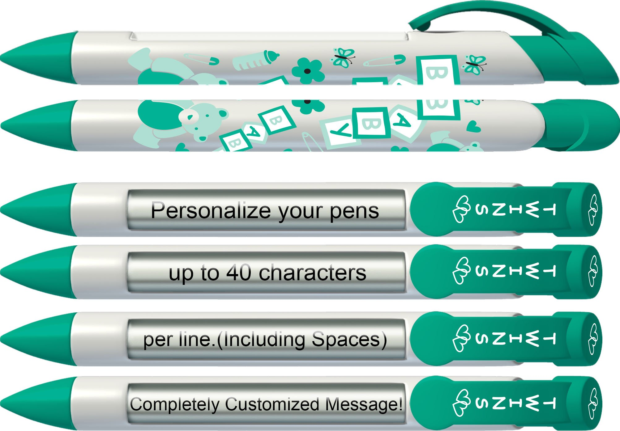 Personalized Birth Announcement Pens- Baby Twins Rotating Message Pen 6 pack (P-BP-28-6)