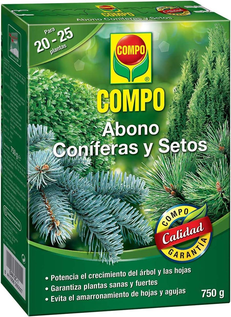 COMPO Abono setos de Larga, Tipo de coníferas y Plantas de Hoja perenne, 6 Meses de duración, 750 g, 2655202011