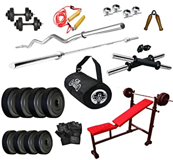 Buy gb fitness kg home gym set with in bench gym