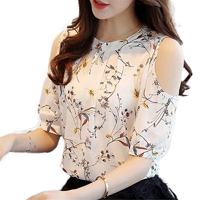 OUXIANGJU Womens New Arrival Chiffon Floral Shirt Open Shoulder Blouses Plus Size Female Tops at Amazon Womens Clothing store: