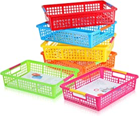 6 Pack u2013 Paper Organizer Basket Classroom File Holder Colorful Plastic Bins Teacher School  sc 1 st  Amazon.com & Storage Containers | Amazon.com