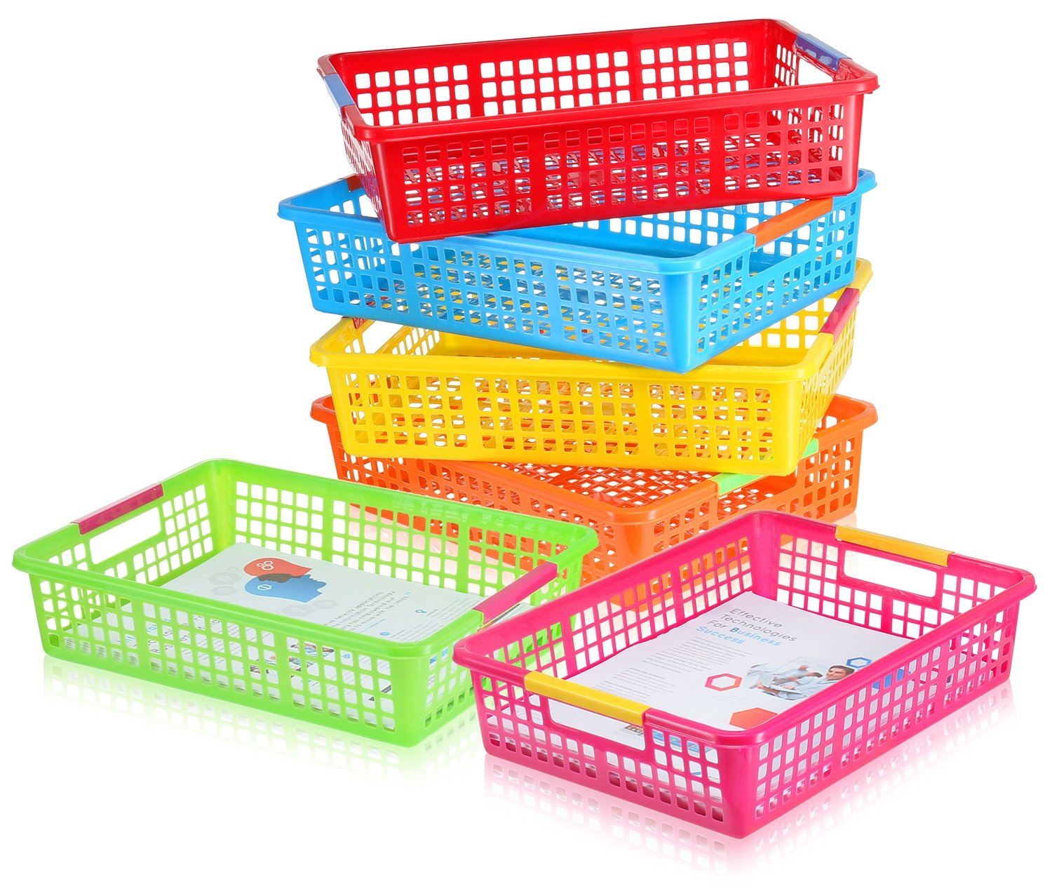 Zilpoo 6 Pack - Paper Organizer Basket, Classroom File Holder Colorful Plastic Bins, Teacher School Supplies Storage Baskets, Drawer Organization Trays with Handles, Colored by Zilpoo