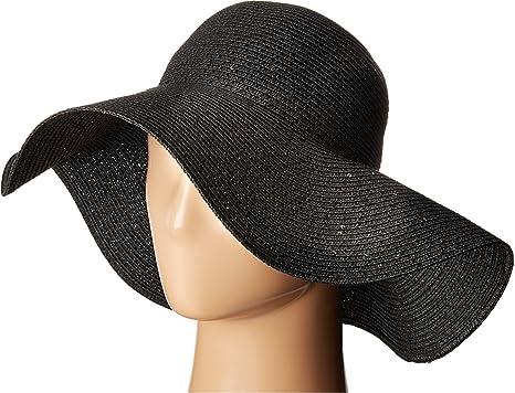 9163d7a2 Calvin Klein Women's Sequin Straw Hat, Black One Size at Amazon ...