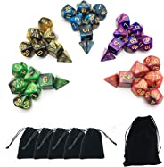 Smartdealspro 5 x 7-Die Series Two Colors Dice with Free Pouches for RPG MTG Table Games