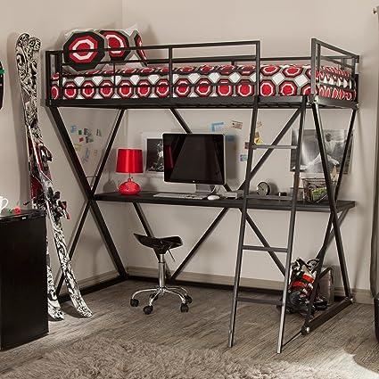 Amazon Com Black Modern Metal Bunk Bed Loft With Desk Perfect