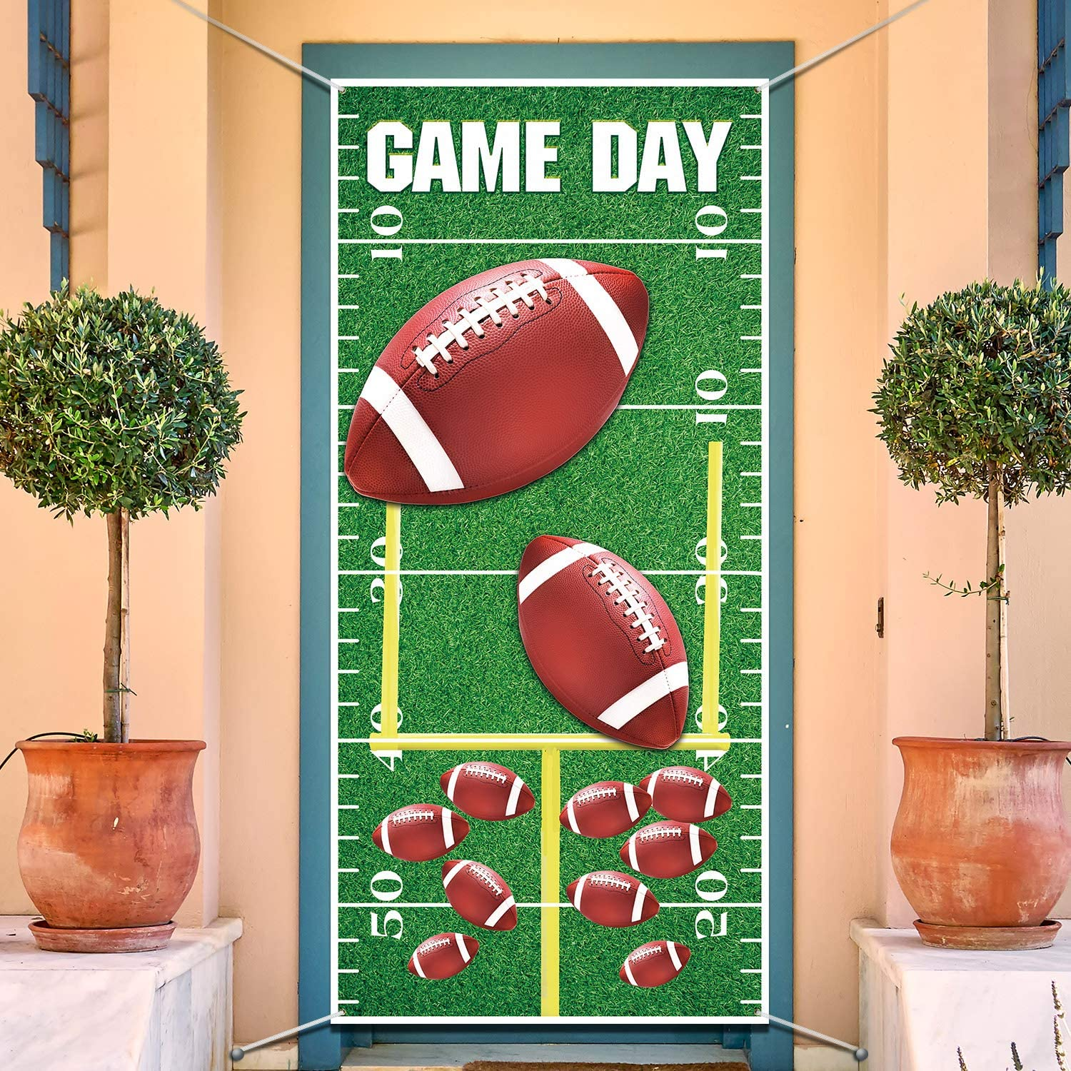 Football Party Decorations, American Football Field Green Grass Door Cover for Football Theme Party Supplies, Football Backdrops Photography Kids Birthday Party Banner