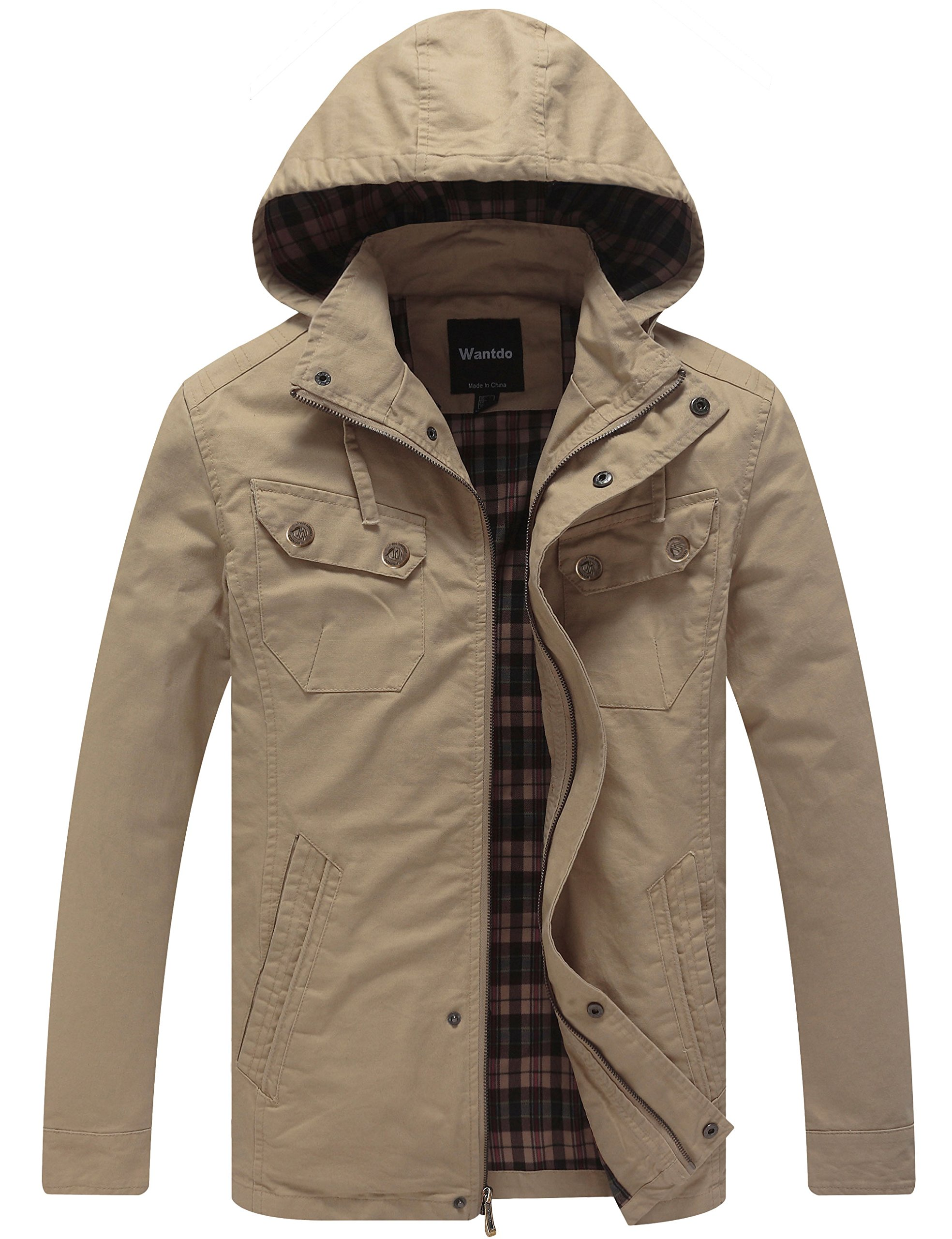 Wantdo Men's Cotton Lightweight Jacket with Removable Hood (Khaki, Small)