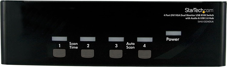 StarTech.com 4 Port DVI VGA Dual Monitor KVM Switch USB with Audio and USB 2.0 Hub (SV431DDVDUA)