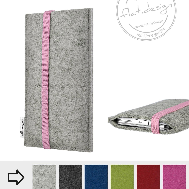 eBook Reader Schutzhülle COIMBRA mit rosa Gummiband aus Wollfilz (hellgrau) - Maßanfertigung der Tasche für alle eReader z.B. Kindle, tolino, Medion, Kobo, Sony, PocketBook, Bookkeen uvm.