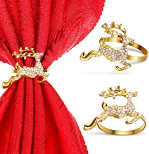 12 Pieces Elk Napkin Rings Holder Buckle Deer Napkin Ring Holder Christmas Napkin Rings with Rhinestones Alloy Metal Napkin Rings for Thanksgiving Christmas Wedding Party Dinner Table Decor (Gold)