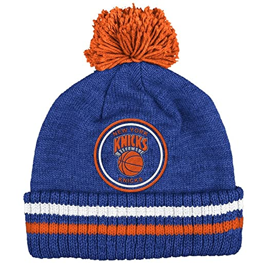 """9b51e0d2 Image Unavailable. Image not available for. Color: New York Knicks Mitchell  & Ness NBA """"Big Man"""" Cuffed Premium Pom Knit"""
