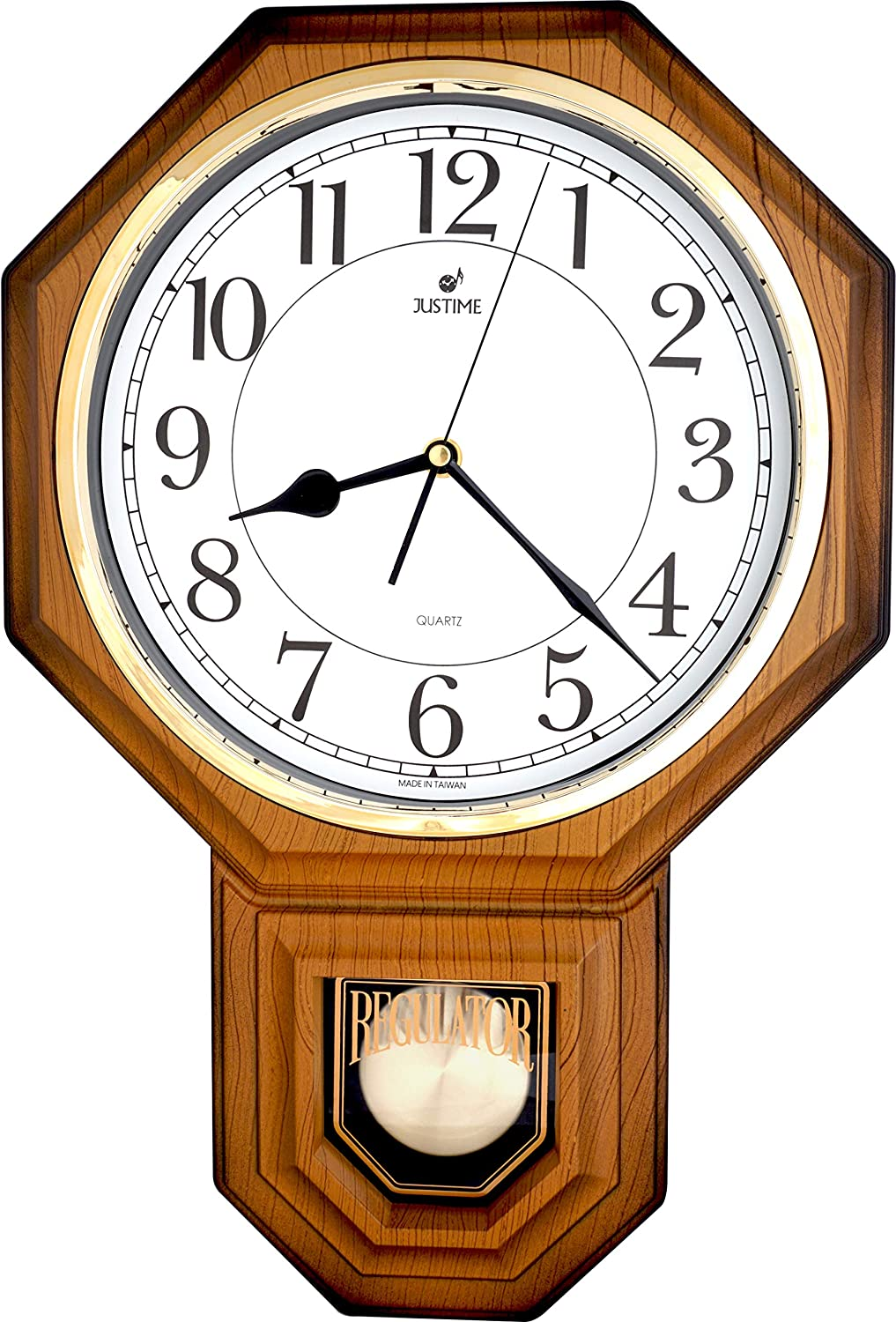 JUSTIME Traditional Schoolhouse Easy to Read Pendulum Plastic Wall Clock Chimes Every Hour with Westminster Melody Made in Taiwan, 4AA Batteries Included (PP0258-WLW Light Wood Grain)