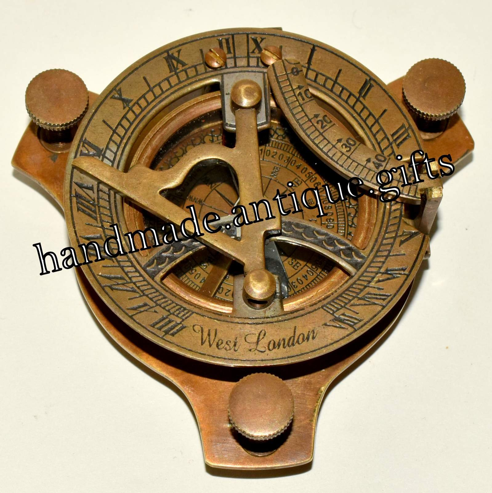 Nautical Brass West London Sundial Compass Marine Working Pocket Compass Gift 3''