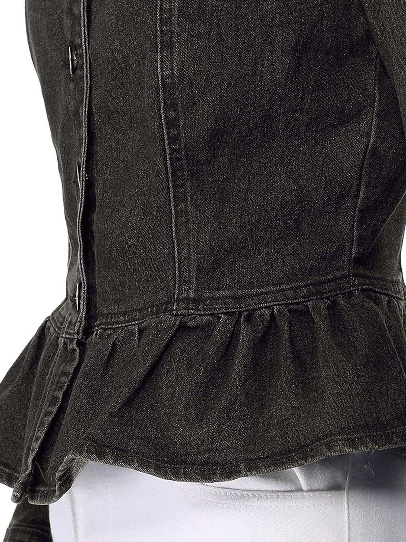 Allegra K Womens Peplum Denim Jackets Collarless Round Neck Button Down Cropped Ruffle Hem Coat