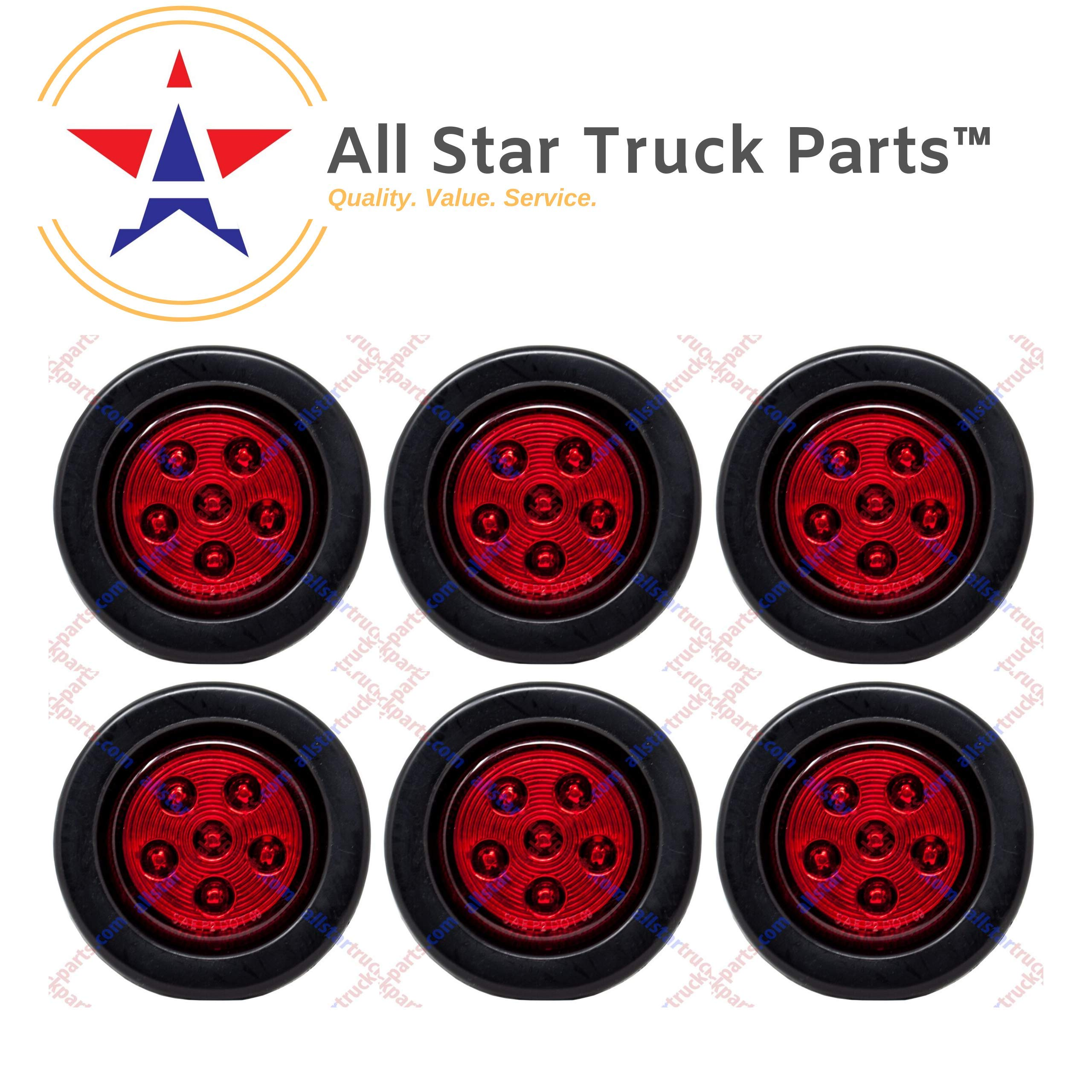Qty 6-2.5'' Round 6 LED Red Light Truck Trailer Side Marker Clearance Grommet and 2 Wire Pigtail Plug Kit by All Star Truck Parts