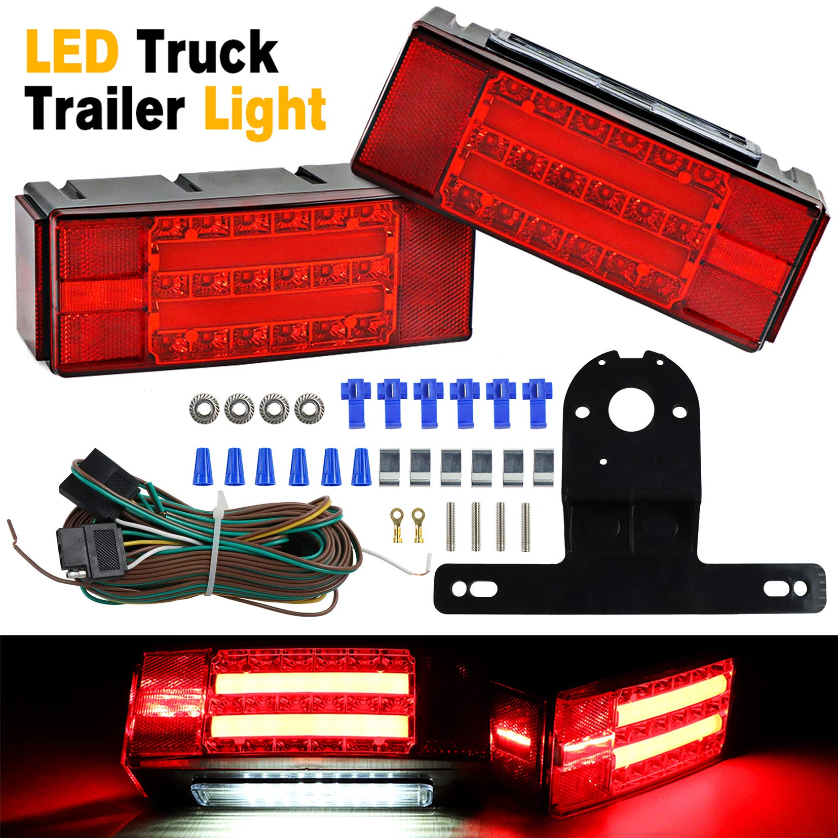 TOPNEW New Design 12V Submersible Rectangular Trailer Light Kit Low Profile LED Trailer Light Stop Tail Turn Signal Running Lights for Truck Marine RV Boat Camper Trailer Waterproof and DOT Compliant by TOPNEW