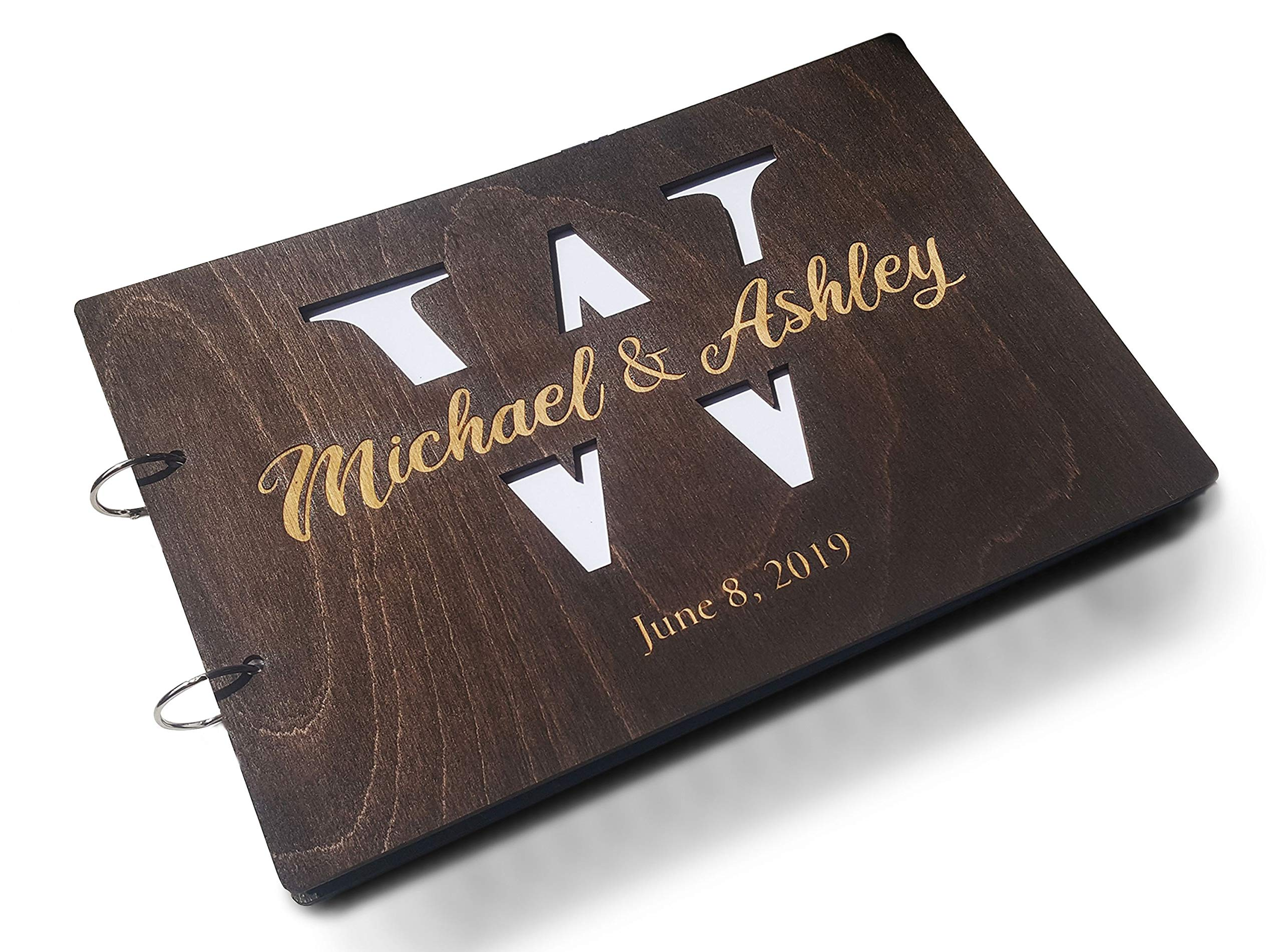 Just Customized Personalized Handmade Mr Mrs Wedding Guest Book for Bride and Groom Wood Alternative Custom Engraved Newlywed Marriage Album (Chocolate Walnut) by Just Customized (Image #1)